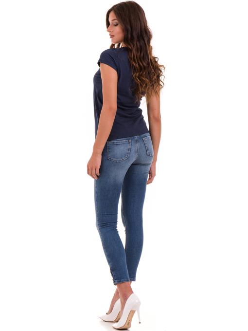 Дамска тениска с надпис и щампа JOGGY GIRLS 6112 - тъмно синя E