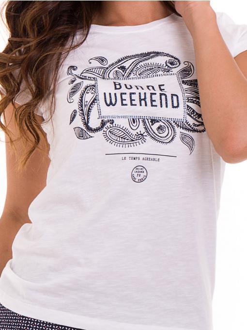 Дамска тениска с надпис и щампа JOGGY GIRLS 6112 - бяла D