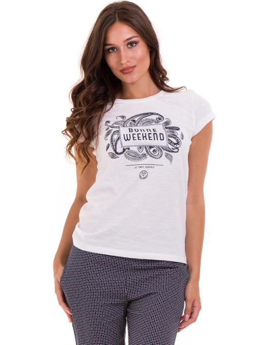 Дамска тениска с надпис и щампа JOGGY GIRLS 6112 - бяла
