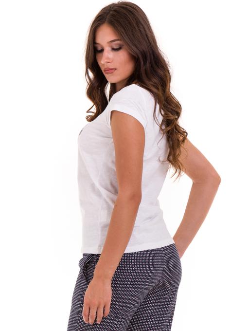 Дамска тениска с надпис и щампа JOGGY GIRLS 6112 - бяла B