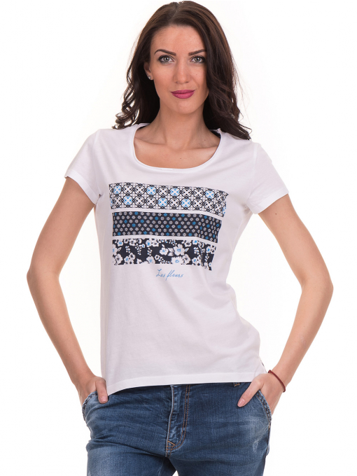 Дамска тениска с щампа JOGGY GIRLS 6113 - бяла