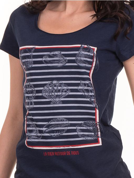 Дамска тениска с щампа JOGGY GIRLS 6127 - тъмно синя D