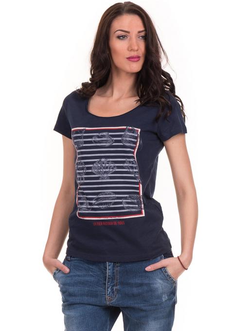 Дамска тениска с щампа JOGGY GIRLS 6127 - тъмно синя