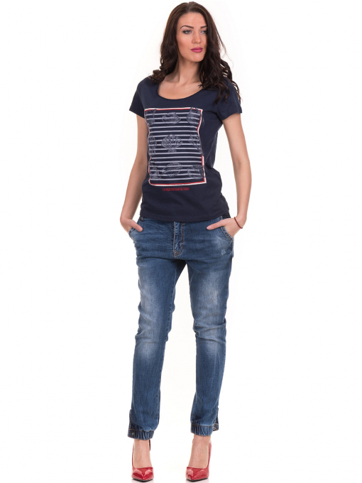 Дамска тениска с щампа JOGGY GIRLS 6127 - тъмно синя C