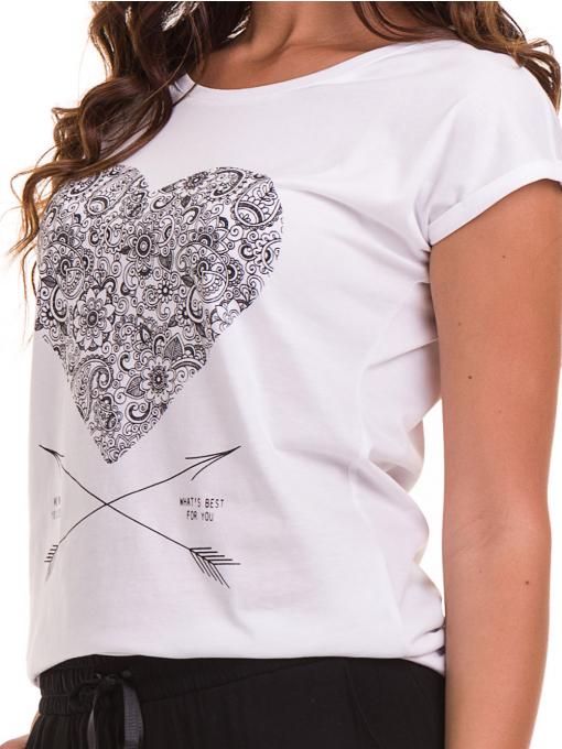 Дамска тениска с щампа JOGGY GIRLS 6193 - бяла D