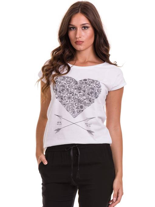 Дамска тениска с щампа JOGGY GIRLS 6193 - бяла