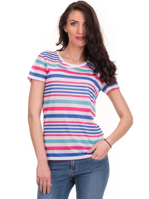 Дамска тениска на райе JOGGY GIRLS 6202 - бяла