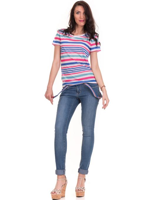 Дамска тениска на райе JOGGY GIRLS 6202 - бяла C