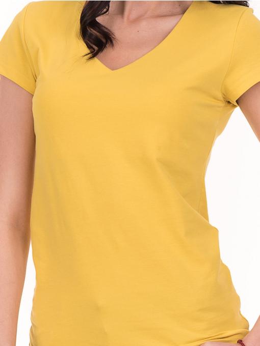 Дамска тениска с V-образно деколте STAMINA 101 - жълта D