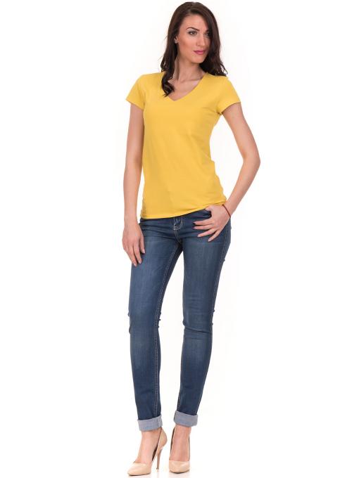 Дамска тениска с V-образно деколте STAMINA 101 - жълта C