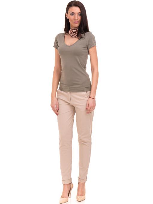 Дамска тениска с V-образно деколте VIGOSS 11016 - цвят каки C