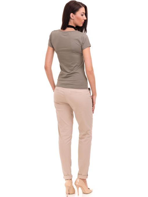 Дамска тениска с V-образно деколте VIGOSS 11016 - цвят каки E