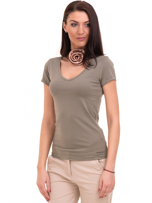 Дамска тениска с V-образно деколте VIGOSS 11016 - цвят каки