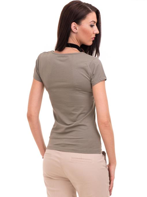 Дамска тениска с V-образно деколте VIGOSS 11016 - цвят каки B