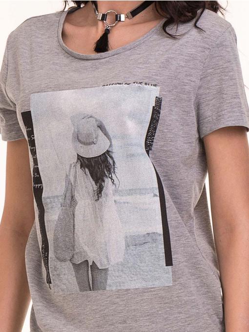 Дамска тениска с щампа VIGOSS 11184 - светло сива D