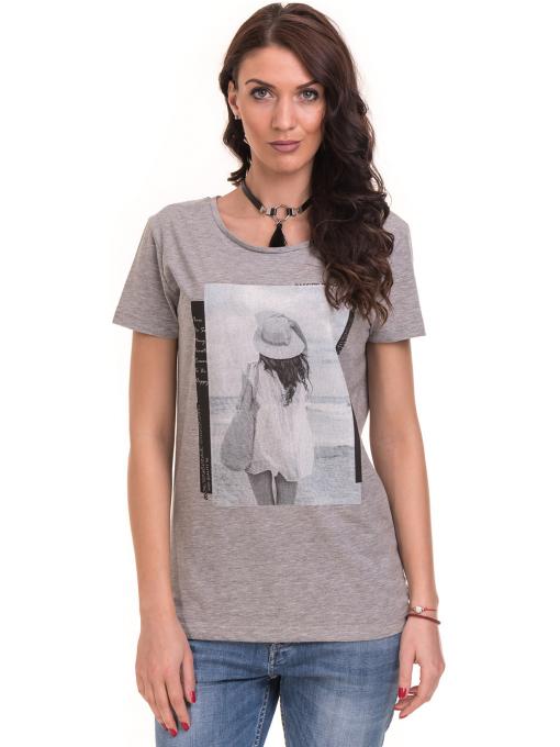 Дамска тениска с щампа VIGOSS 11184 - светло сива