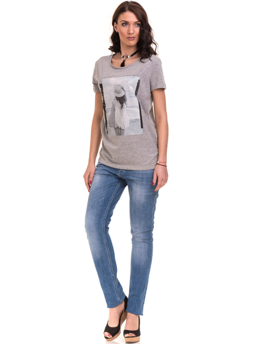 Дамска тениска с щампа VIGOSS 11184 - светло сива C