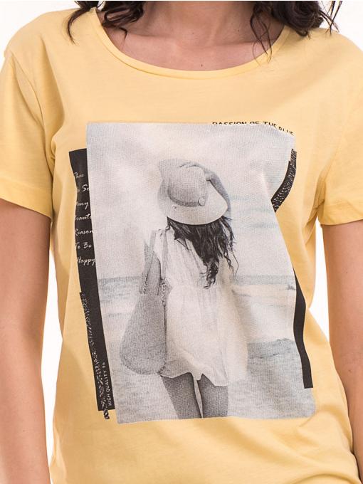 Дамска тениска с щампа VIGOSS 11184 - жълта D