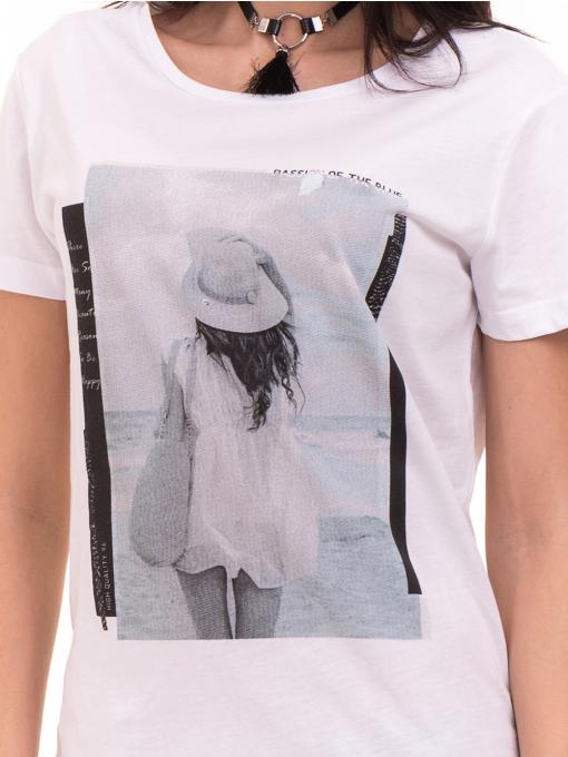 Дамска тениска с щампа VIGOSS 11184 - бяла D