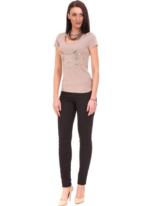 Дамска тениска с овално деколте VIGOSS 11200 - тъмно бежова C