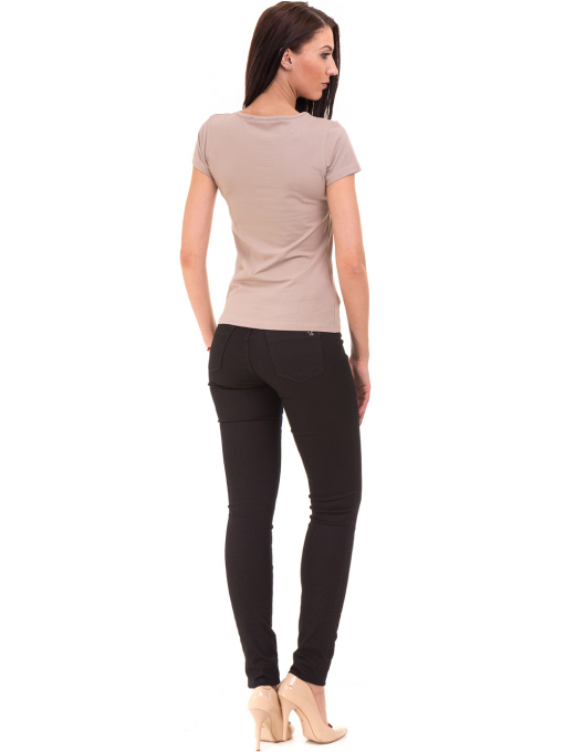 Дамска тениска с овално деколте VIGOSS 11200 - тъмно бежова E