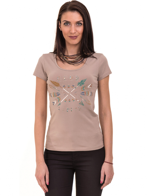 Дамска тениска с овално деколте VIGOSS 11200 - тъмно бежова