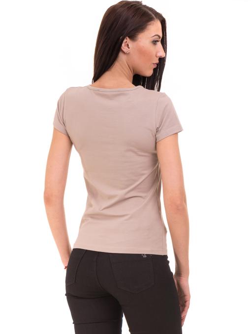 Дамска тениска с овално деколте VIGOSS 11200 - тъмно бежова B