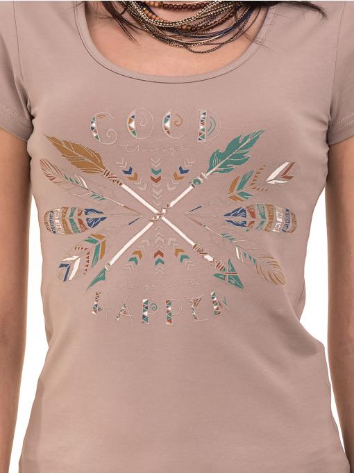 Дамска тениска с овално деколте VIGOSS 11200 - тъмно бежова D