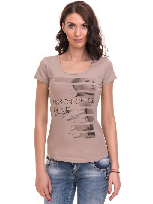 Дамска вталена тениска VIGOSS 11268 - тъмно бежова