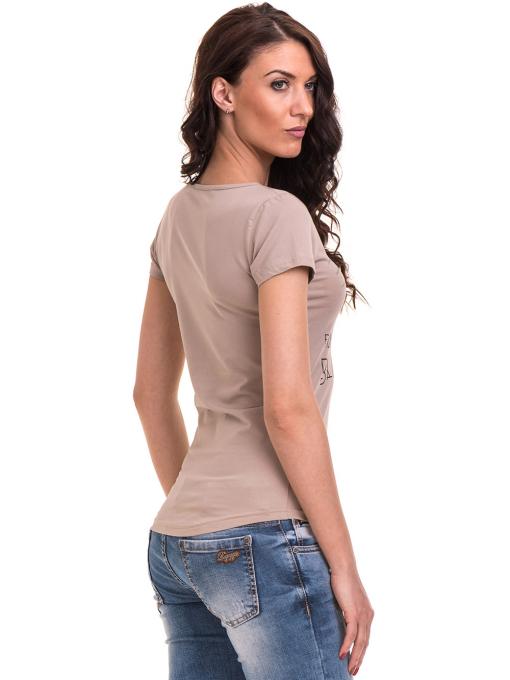 Дамска вталена тениска VIGOSS 11268 - тъмно бежова B