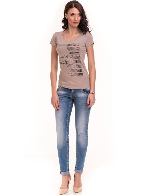 Дамска вталена тениска VIGOSS 11268 - тъмно бежова C