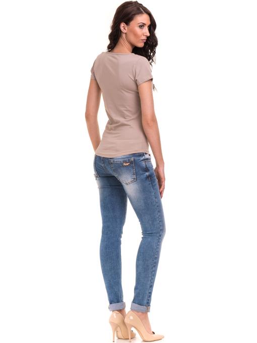 Дамска вталена тениска VIGOSS 11268 - тъмно бежова E