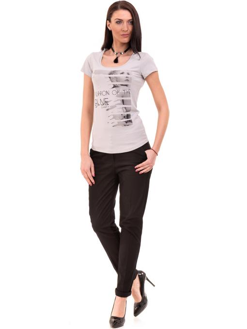 Дамска вталена тениска VIGOSS 11268 - светло сива C