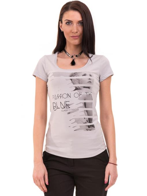 Дамска вталена тениска VIGOSS 11268 - светло сива
