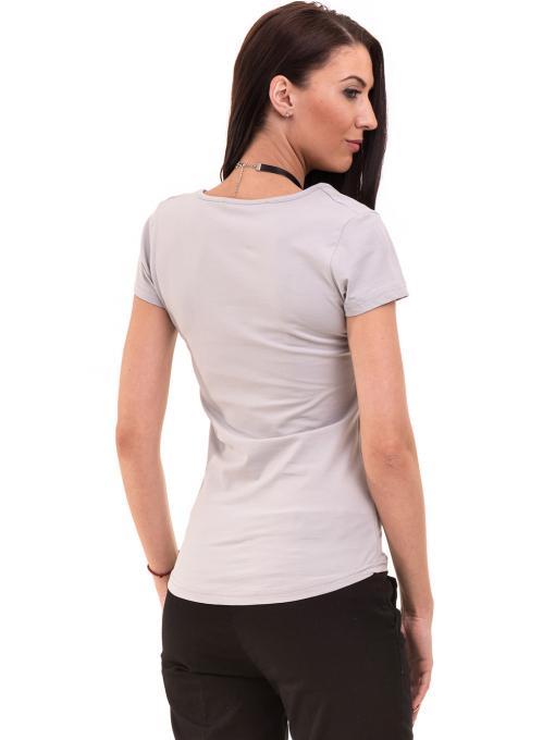 Дамска вталена тениска VIGOSS 11268 - светло сива B