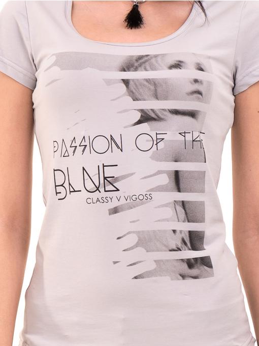 Дамска вталена тениска VIGOSS 11268 - светло сива D
