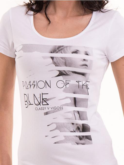 Дамска вталена тениска VIGOSS 11268 - бяла D