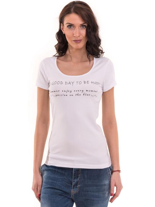 Дамска тениска VIGOSS с надпис 11269 - бяла