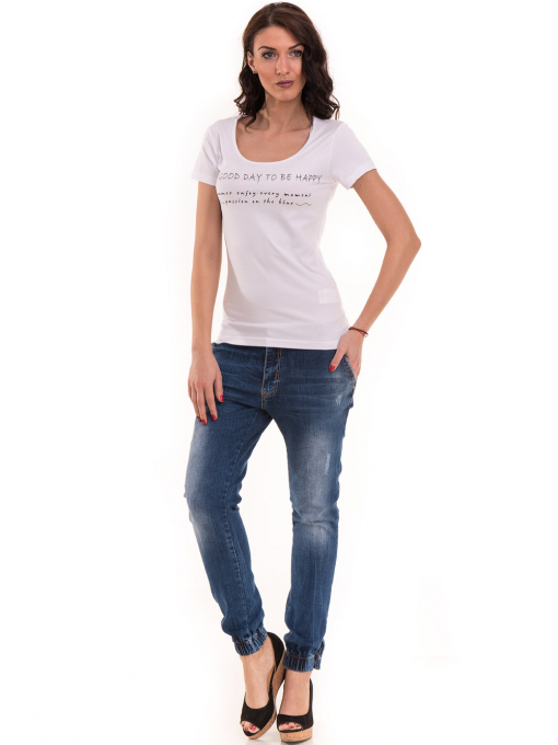 Дамска тениска VIGOSS с надпис 11269 - бяла C