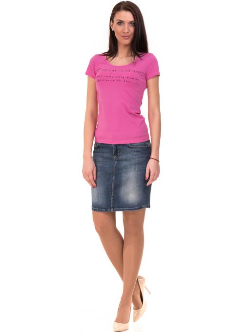 Дамска тениска VIGOSS с надпис 11269- тъмно розова C