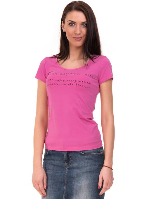 Дамска тениска VIGOSS с надпис 11269- тъмно розова