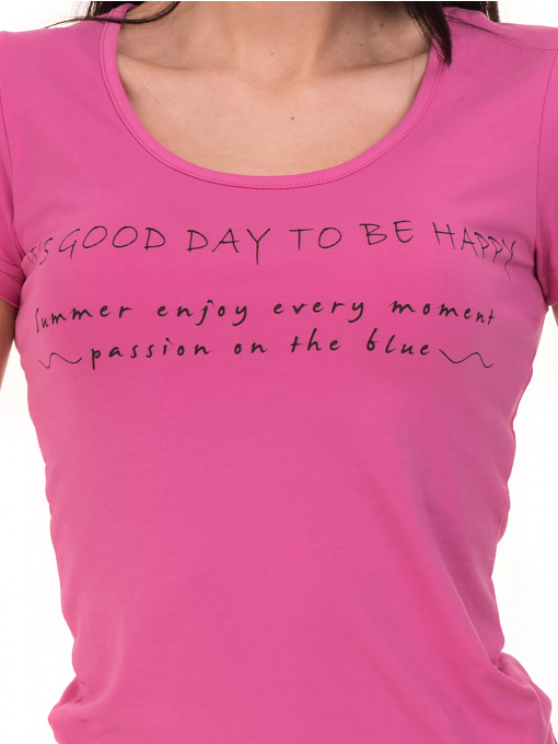 Дамска тениска VIGOSS с надпис 11269- тъмно розова D