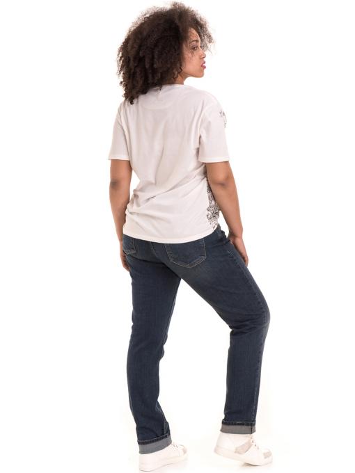 Дамска тениска с обло деколте XINT 1044 - бяла E