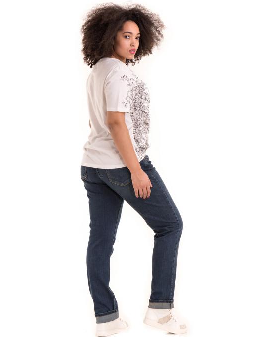 Дамска тениска с обло деколте XINT 1044 - бяла C