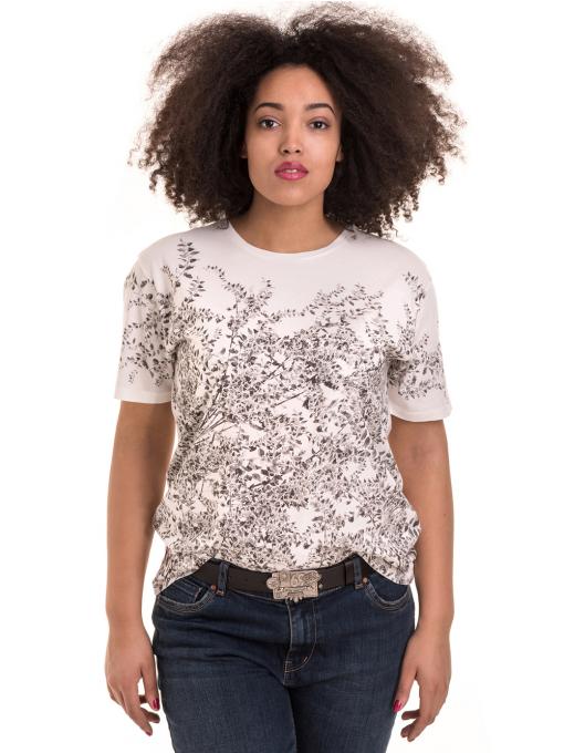 Дамска тениска с обло деколте XINT 1044 - бяла