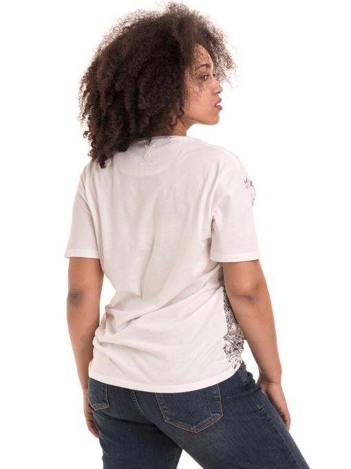 Дамска тениска с обло деколте XINT 1044 - бяла B