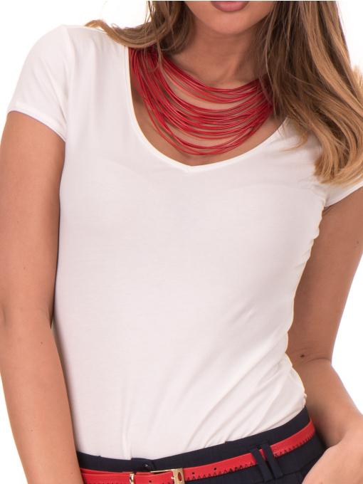 Дамска едноцветна тениска XINT 174 - екрю D