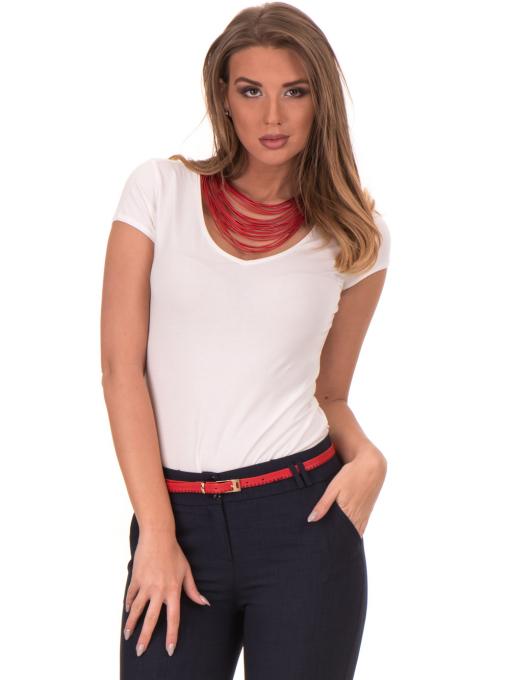 Дамска едноцветна тениска XINT 174 - екрю