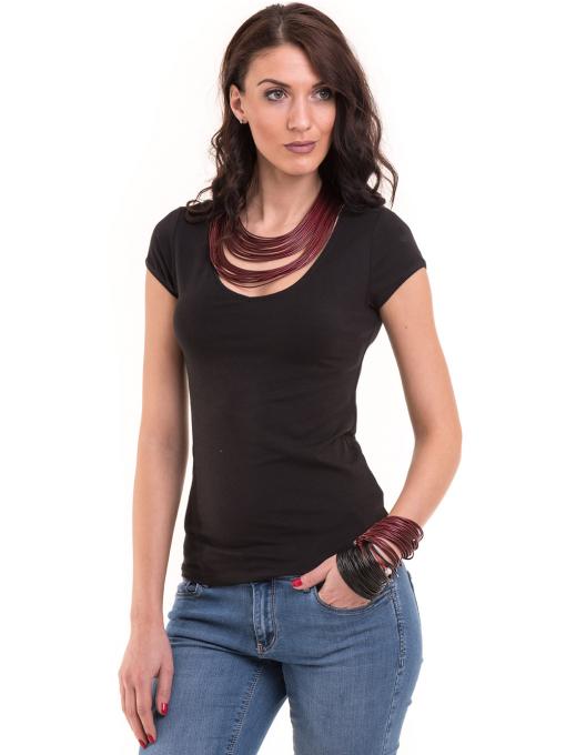 Дамска едноцветна тениска XINT 174 - черна