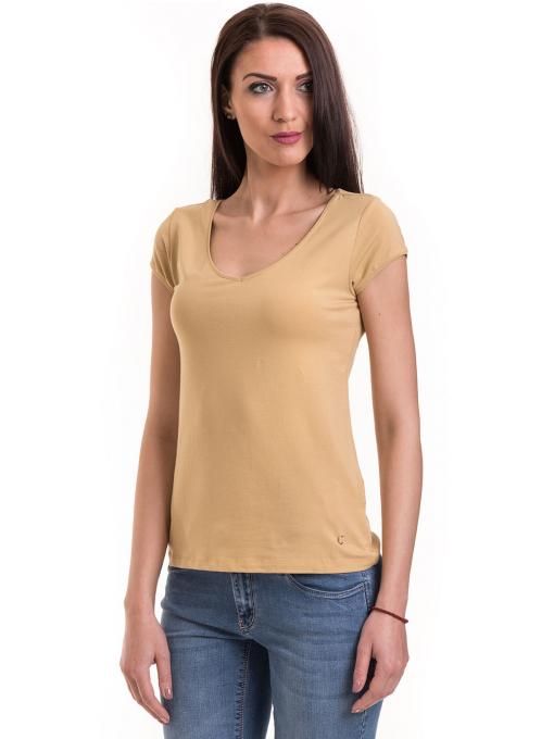 Дамска едноцветна тениска XINT 174 - цвят горчица